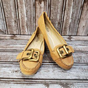 Rialto Tan Leather Buckle Loafers